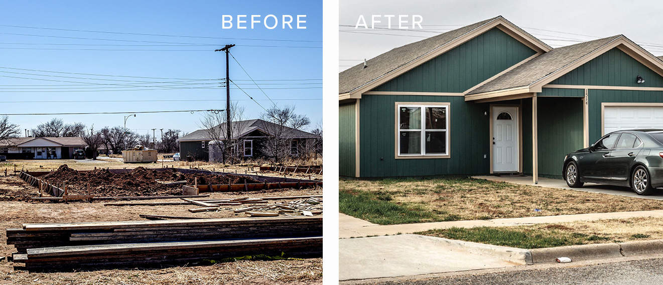 Before and after for a house reconstruction